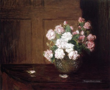 Julian Alden Weir Painting - Roses in a Silver Bowl on a Mahogany Table flower still life Julian Alden Weir
